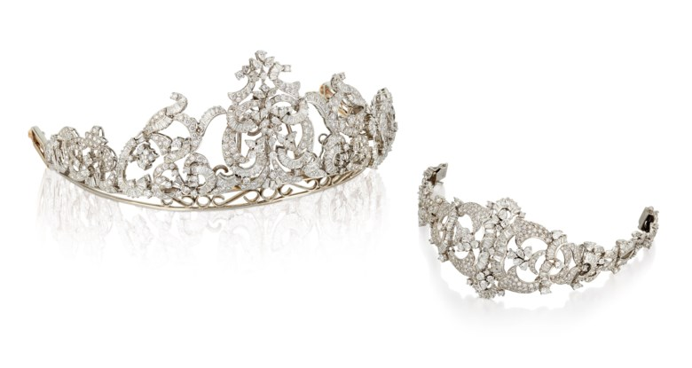 Diamond tiara and bracelet set. Pear-shaped, circular, marquise and baguette-cut diamonds. Tiara height 5.6 cm, bracelet 18.8 cm. Estimate £12,000-18,000. Offered in                     Important Jewels, 4-18 November 2020, Online