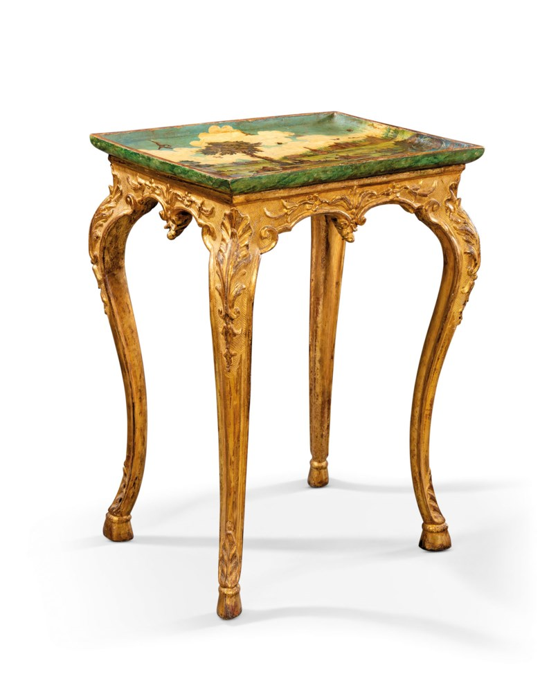 A north Italian giltwood, simulated marble and lacca povera occasional table, the tray, probably piedmont, late 18th century, the base 19thearly 20th century. 29 in (74 cm) high; 20½ in (52 cm); 16¼ in (41 cm) deep. Estimate £2,500-4,000. Offered in Works of Art from The Giuseppe Rossi Collection Sold to Benefit a Charity, 24 September to 15 October 2020, online