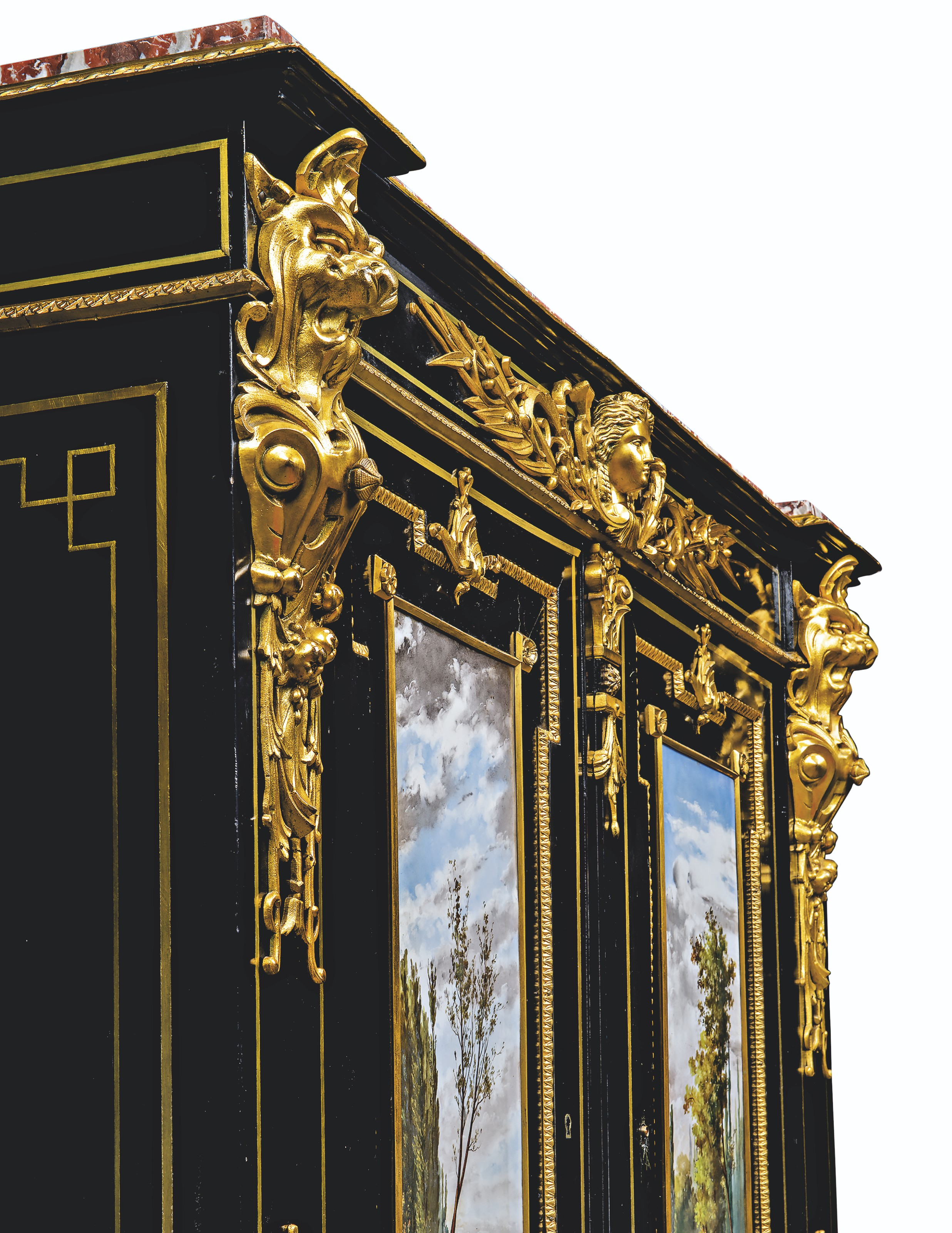 A NAPOLEON III GILT ELECTROTYPE-MOUNTED AND PORCELAIN-INSET EBONY AND EBONISED MEUBLE D'APPUI