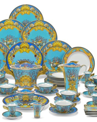 A ROSENTHAL PORCELAIN PART TABLE-SERVICE DESIGNED BY VERSACE