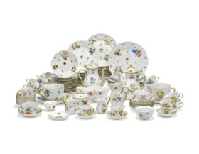 A HEREND PORCELAIN 'FRUITS AND FLOWERS' PATTERN PART TABLE-S