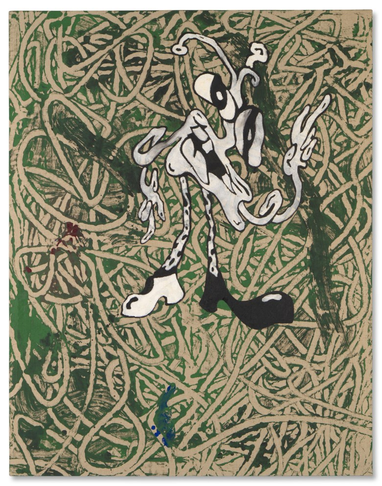 Ida Ekblad (b. 1980), An Alien Among Ruins, 2014. Acrylic and puff paste on linen. 77 x 55 in (180.7 x 140.2 cm). Estimate £20,000-30,000. Offered in First Open Post-War & Contemporary Art Online, 14-28 July, Online