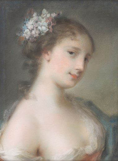 Rosalba Carriera (1675-1757), Portrait of a young lady, bust-length, turned to the right (An allegory of Spring). Pastel on paper, laid down on canvas. 17⅜ x 13⅛ in (44.1 x 33.3 cm). Estimate £40,000-60,000. Offered in  Old Master & British Drawings & Watercolours, 6-27 July 2020, Online