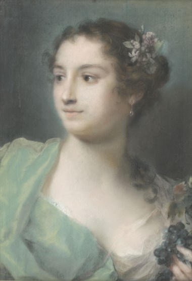 Rosalba Carriera (1675-1757), Portrait of a lady, bust-length, looking to the right, holding grapes (An allegory of Autumn). Pastel on paper, laid down on canvas. 18¼ x 12⅞ in (46 x 32.5 cm). Estimate £40,000-60,000. Offered in  Old Master & British Drawings & Watercolours, 6-27 July 2020, Online