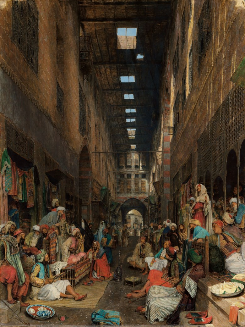 John Frederick Lewis (1805-1876), The Bezestein Bazaar of El Khan Khalil, Cairo, 1872. Oil on canvas. 45½ x 34¾  in (115.6 x 88.3  cm). Estimate £3,000,000-5,000,000. Offered in Orientalist Art on 18 November 2020 at Christie's in London