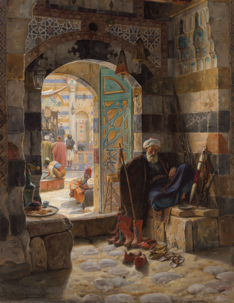 Gustav Bauernfeind (1848-1904), Warden of the Mosque, Damascus, 1891. Oil on panel. 43 x 33  in (109.2 x 83.8  cm). Estimate £1,500,000-2,500,000. Offered in Orientalist Art on 18 November 2020 at Christie's in London