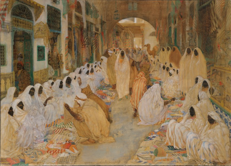 Alexander Roubtzoff (1884-1949), The Souk, Tunis, 1915. Oil on canvas. 44¾ x 62⅜  in (114 x 158.2  cm). Estimate £300,000-500,000. Offered in Orientalist Art on 18 November 2020 at Christie's in London