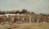 A bustling market place at the city wall, Tangiers