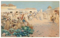 A busy market, North Africa