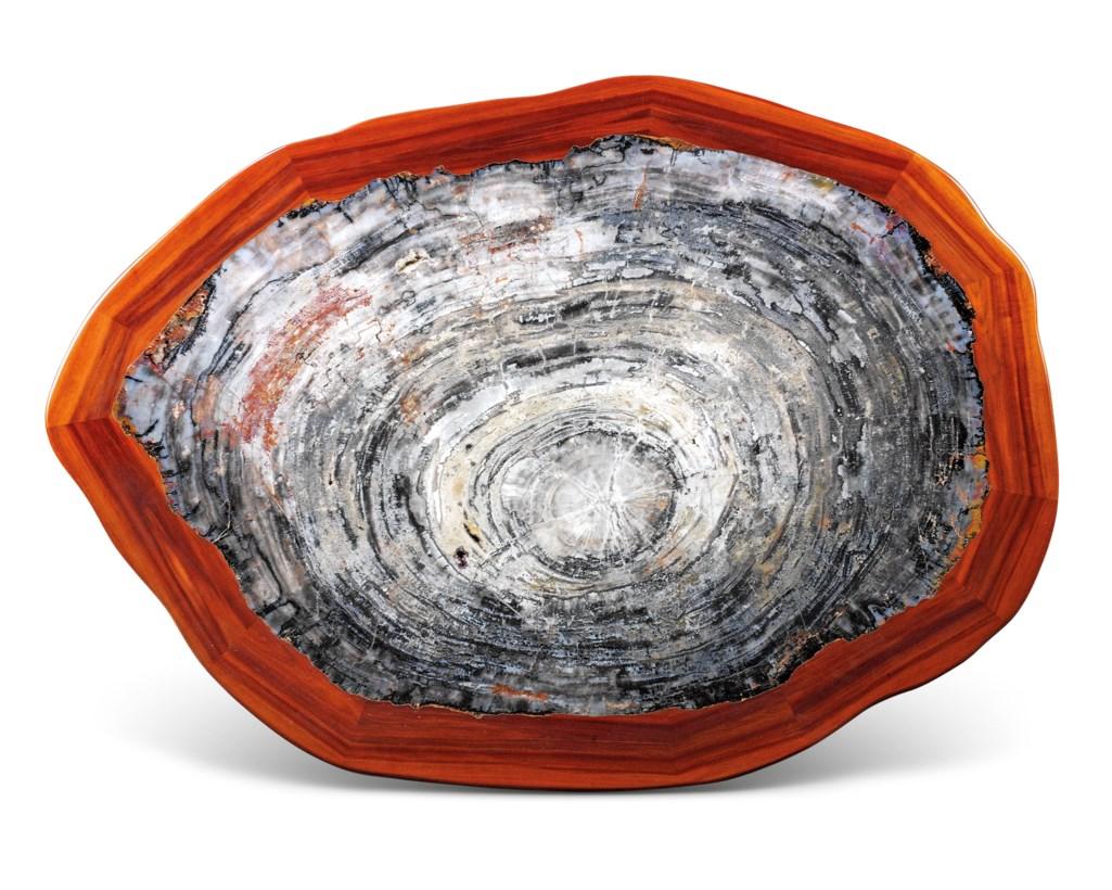A LARGE PETRIFIED WOOD TABLE