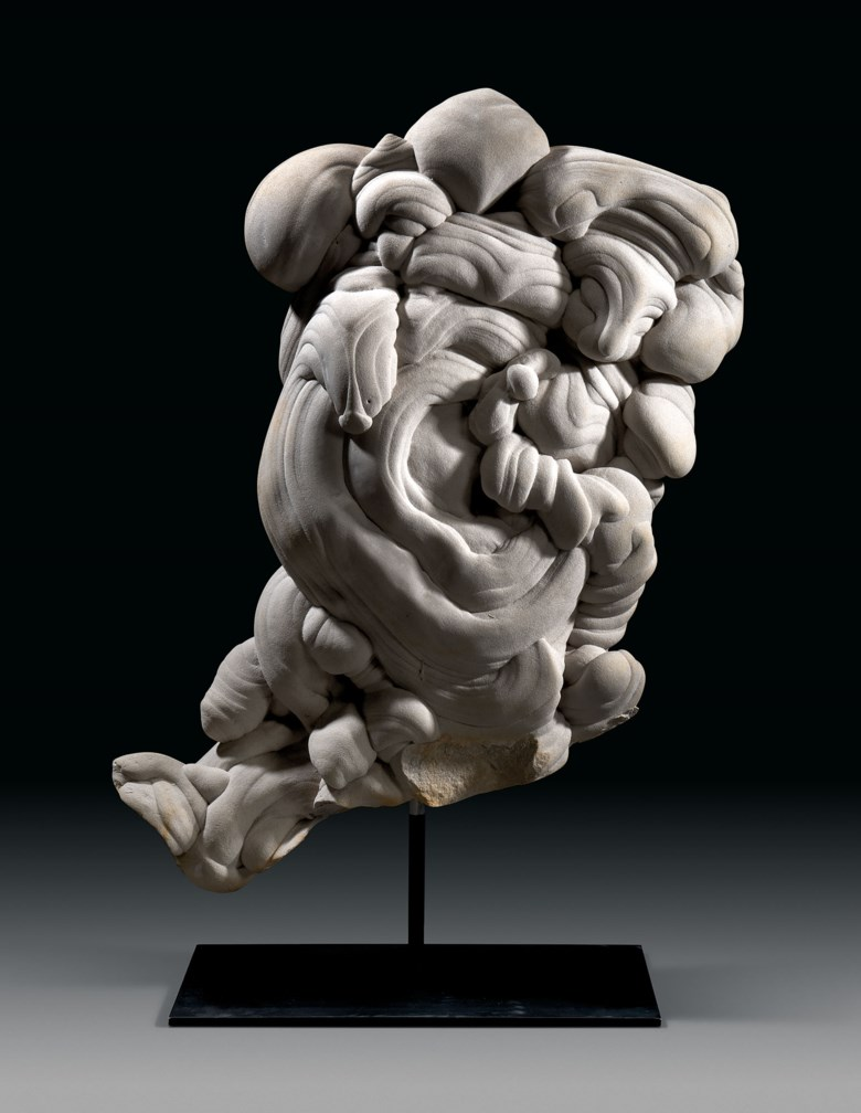 A large gogotte formation, Fontainebleau, France. 39 x 24 x 12½ in (99 x 61 x 32 cm). Estimate £20,000-30,000. Offered in  Sculpted by Nature Fossils, Minerals and Meteorites, 14-28 October 2020, Online