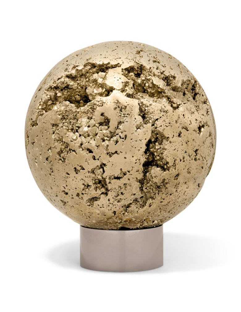 A large pyrite sphere, Peru. 9½ in (24 cm) diameter. Estimate £5,000-7,000. Offered in  Sculpted by Nature Fossils, Minerals and Meteorites, 14-28 October 2020, Online