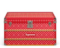 A LIMITED EDITION RED & WHITE MONOGRAM COURRIER 90 TRUNK BY SUPREME