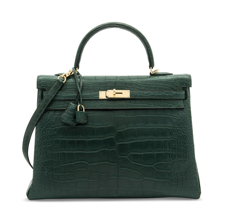 A matte vert titien niloticus crocodile retourné Kelly 35 with gold hardware, Hermès, 2017. 35 w x 25 h x 13 d cm. Offered in Handbags & Accessories on 31 July 2020 at Christie's in London