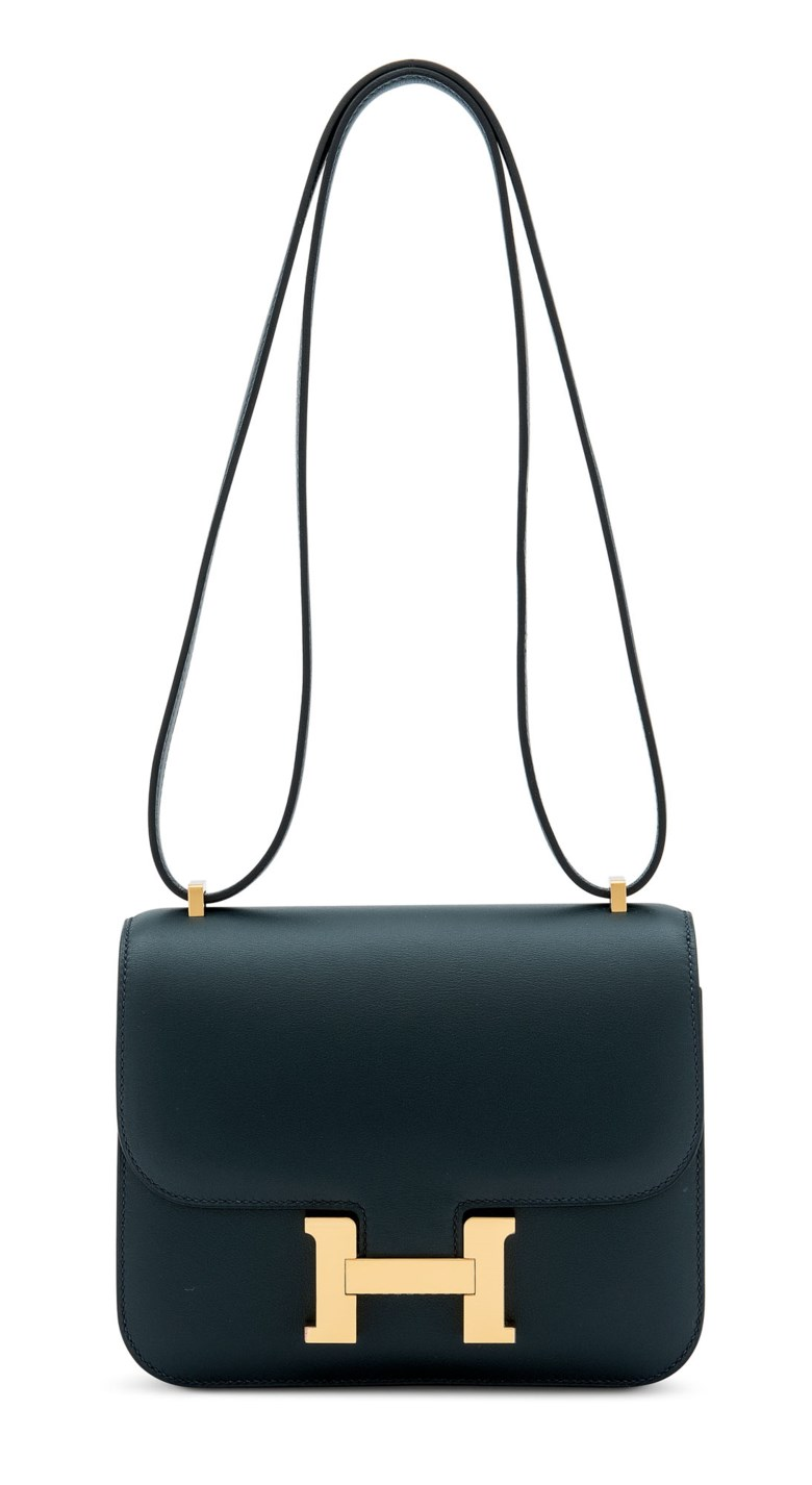 A vert rousseau swift leather mini Constance 18 with gold hardware, Hermès, 2019. 18 w x 15 h x 5 d cm. Sold for £11,250 in Handbags & Accessories on 31 July 2020 at Christie's in London