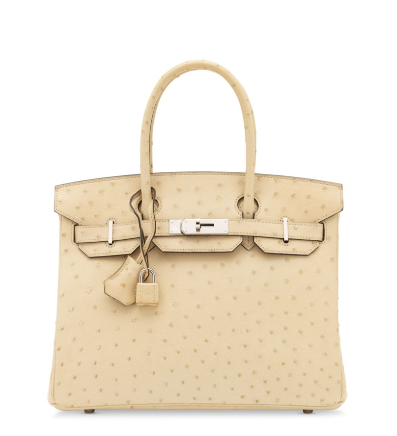 A parchemin ostrich Birkin 30 with palladium hardware, Hermès, 2015. 30 w x 22 h x 15 d cm. Sold for £18,750 in Handbags & Accessories on 31 July 2020 at Christie's in London