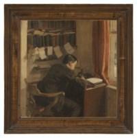 The Reverend John William Harold Battiscombe at his desk