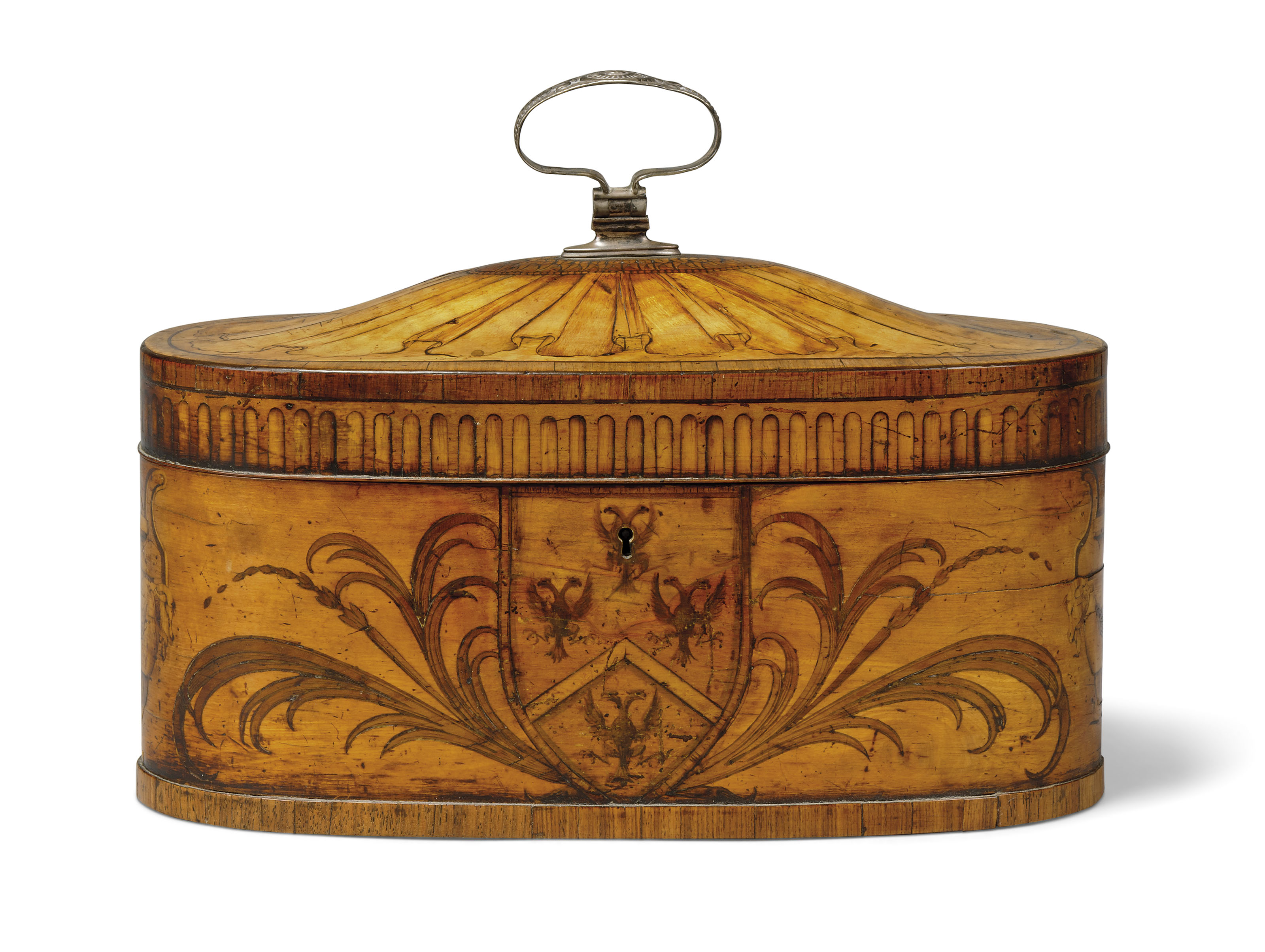 A GEORGE III TULIPWOOD-BANDED, SATINWOOD AND MARQUETRY TEA CADDY