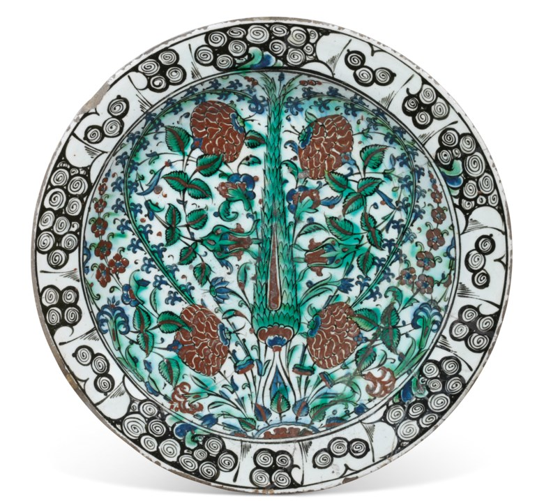 An Iznik pottery dish, Ottoman Turkey, circa 1600. 16¼ in (41.5 cm) diam. Sold for £6,875 on 19 March 2020 at Christie's in London