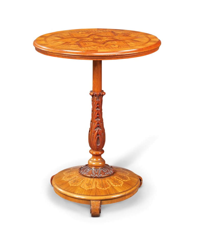 A New Zealand specimen nativewood parquetry occasional table, by Anton Seuffert, circa 1870. Sold for £10,000 in Chieveley House, Berkshire and Five Private Collections on 19 March 2020 at Christie's in London