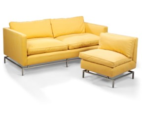 AN UPHOLSTERED TWO-SEAT SOFA A