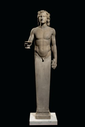 A ROMAN MARBLE TERMINAL FIGURE OF DIONYSUS