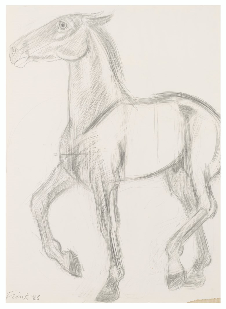 Dame Elisabeth Frink, R.A. (1930-1993), Study for Running Horse, executed in 1983. Pencil on paper. 30¼ x 22  in (76.8 x 55.8  cm). Estimate £4,000-6,000. Offered in Modern British Art  on 29 September 2020 at Christie's in London