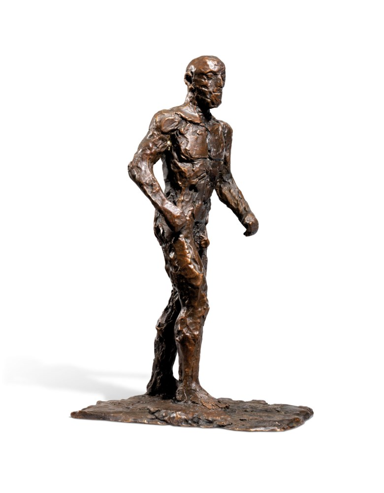 Dame Elisabeth Frink, R.A. (1930-1993), Small Male Figure, conceived in 1986 and cast in an edition of 15. Bronze with a dark brown patina. 11½  in (29.2  cm) high. Estimate £15,000-25,000. Offered in Modern British Art  on 29 September 2020 at Christie's in London