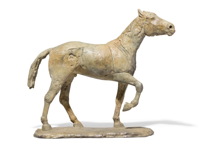 Dame Elisabeth Frink, R.A. (1930-1993), Standing Horse, conceived in 1982. Bronze with a grey, green and brown patina. 18⅛  in (46.4  cm) long. Estimate £30,000-50,000. Offered in Modern British Art  on 29 September 2020 at Christie's in London