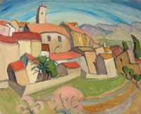 Pink-roofed town, France