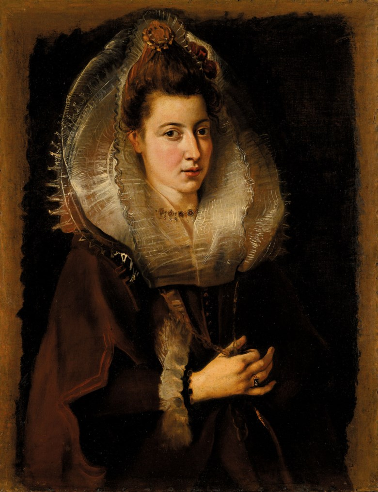 Sir Peter Paul Rubens (Siegen1577-1640 Antwerp), Portrait of a Young Woman, Half-Length, Holding a Chain, c. 1603-06.Oil on canvas. 33¾ x 26  in (85.5 x 66  cm). Sold for £3,965,250 in Classic Art Evening Sale Antiquity to 20th Century on 29 July 2020 at Christie's in London