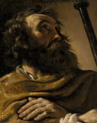 Saint Alexius in a brown wrap, holding a staff
