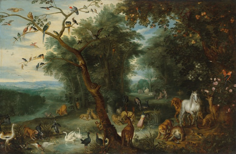 Jan Breughel, the Younger (1601-1678), Paradise. Oil on panel, 21⅝ x 33  in (55 x 83.8  cm). Estimate £50,000-80,000. Offered in Classic Art Evening Sale Antiquity to 20th Century on 29 July 2020 at Christie's in London