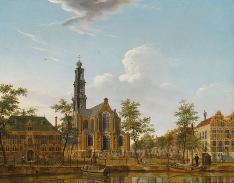 Isaac Ouwater (1748-1793), View of the Westerkerk seen from across the Keizersgracht, Amsterdam. Oil on panel, 20¼ x 25⅞  in (51.5 x 65.5  cm). Estimate £100,000-150,000. Offered in Classic Art Evening Sale Antiquity to 20th Century on 29 July 2020 at Christie's in London