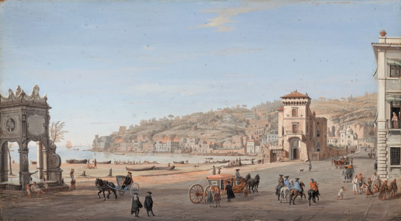 Gaspar van Wittel, called Vanvitelli (16521653-1736), Riviera di Chiaia, Naples. Bodycolour on panel, 11⅜ x 18¾  in (26.3 x 47.7  cm). Estimate £180,000-220,000. Offered in Classic Art Evening Sale Antiquity to 20th Century on 29 July 2020 at Christie's in London