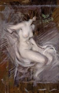 Nudo di Giovane Seduta (Nudo color perla)