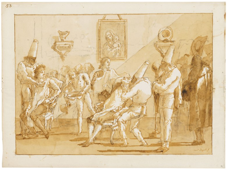Giovanni Domenico Tiepolo (1727-1804), Punchinellos in a barber's shop. Black chalk, pen and brown ink, brown wash. 13⅝ x 18⅜  in (34.5 x 46.6  cm). Estimate £300,000-400,000. Offered in Classic Art Evening Sale Antiquity to 20th Century on 29 July 2020 at Christie's in London