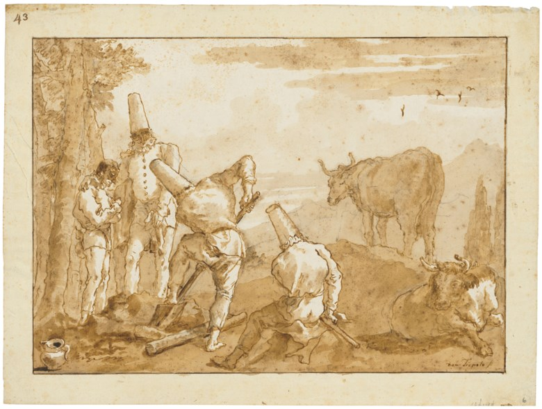 Giovanni Domenico Tiepolo (1727-1804), Punchinellos digging a grave. Black chalk, pen and brown ink, brown wash. 13¾ x 18¼  in (34.8 x 46.3  cm). Estimate £150,000-250,000. Offered in Classic Art Evening Sale Antiquity to 20th Century on 29 July 2020 at Christie's in London