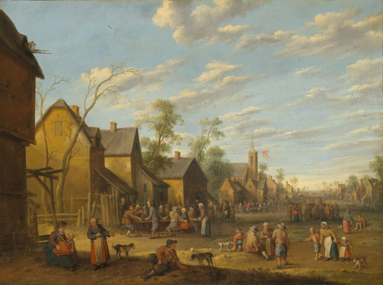 Joost cornelisz. Droochsloot (1586-1666), A village with peasants and a feud in the foreground. Oil on canvas, 30⅝ x 40¾ in (77.8 x 103.5 cm). Estimate £15,000-20,000 (for a pair A village with peasants and a feud in the foreground; and A village with peasants merrymaking outside a tavern). Offered in Old Master Paintings & Sculpture, 9-30 July 2020, Online