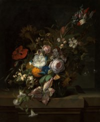 Tulips, rose, honeysuckle, apple blossom, poppies and other flowers in a glass vase, with a butterfly, on a marble ledge