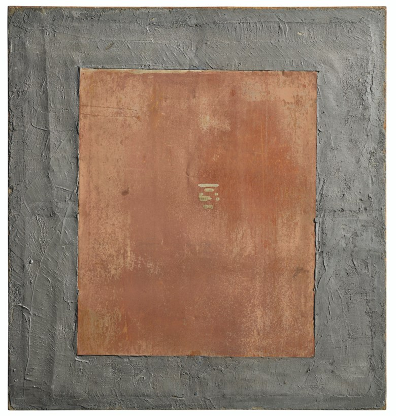 Mario Schifano (1934-1998), Cementoferro 6 (Concrete iron 6), 1960. Concrete and iron on canvas laid down on board. 66⅞ x 63 in (170 x 160 cm). Estimate £100,000-150,000. Offered in Thinking Italian Art and Design Evening Sale on 22 October 2020 at Christie's in London