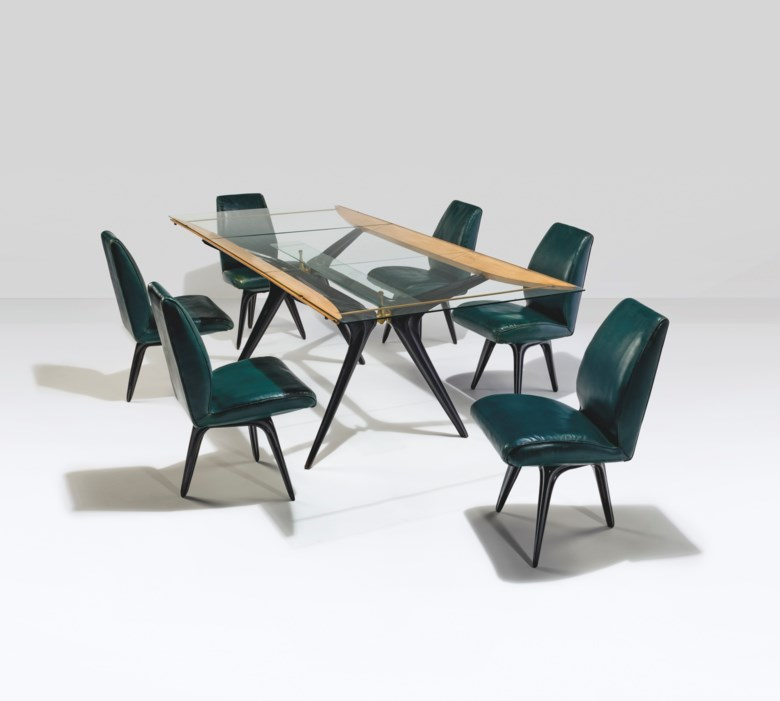 Carlo Mollino (1905-1973), Unique and Important Dining Suite, designed for Ada and Cesare Minola , executed by Apelli & Varesio, Turin, Italy, 1946. Each chair 31¾ x 18½ x 22 in (80.5 x 47 x 56 cm). Estimate £1,200,000-1,800,000. Offered in Thinking Italian Art and Design Evening Sale on 22 October 2020 at Christie's in London