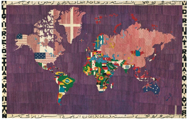 Alighiero Boetti (1940-1994), Mappa (Map), 1984. Embroidery. 44⅛ x 69¼ in (112 x 176 cm). Sold for £1,702,500 on 22 October 2020 at Christie's in London. Artwork © Alighiero Boetti, DACS 2020