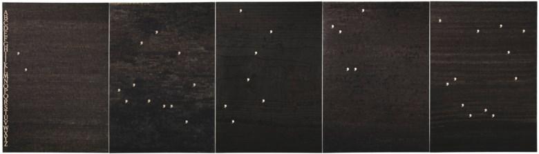 Alighiero Boetti (1940-1994), Il progressivo svanire della consuetudine (The progressive disappearance of habit), 1974. Ballpoint pen on paper laid down on canvas, in five parts. Overall 39⅜ x 137¾ in (100 x 350 cm). Estimate £500,000-700,000. Offered in Thinking Italian Art and Design Evening Sale on 22 October 2020 at Christie's in London