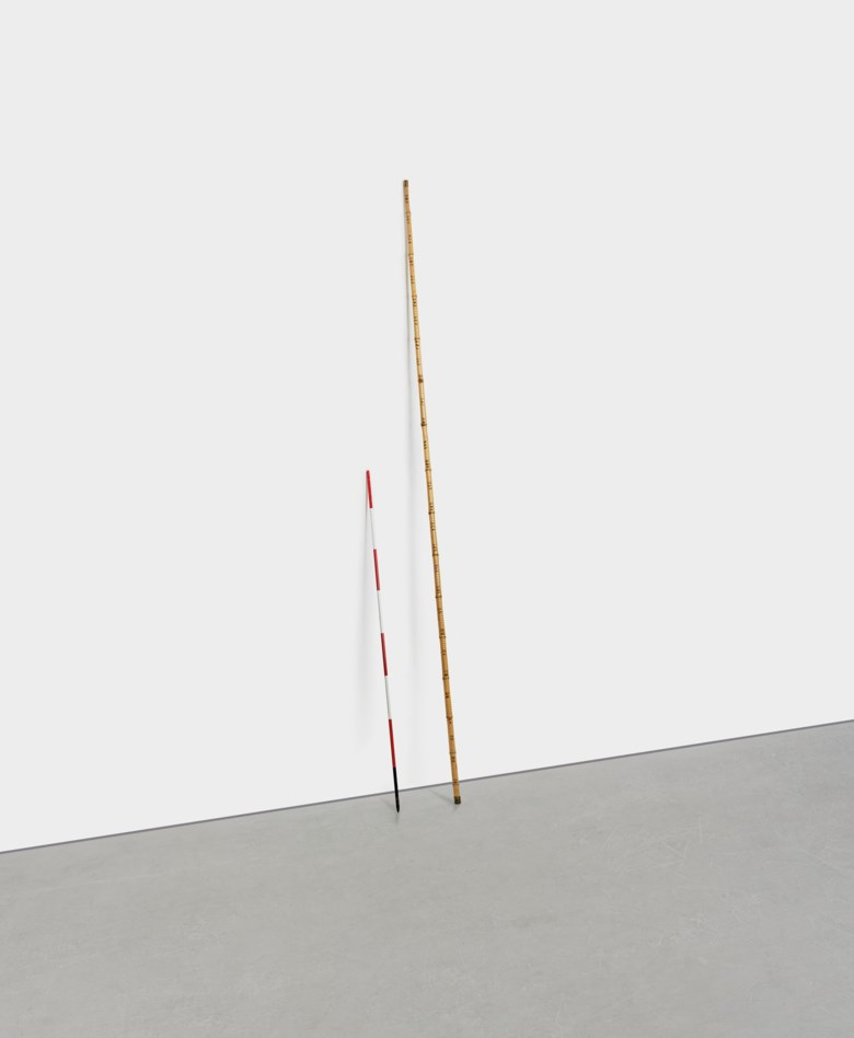 Alighiero Boetti (1940-1994), Lot composed of two works (i) Asta di misurazione (Measurement pole), (ii)Triplo metro (Triple meter), 1966. (i) Painted iron, 63 x ½ in (160 x 1.2 cm), (ii) hand-made intervention on bamboo cane, 78¾ x¾ in (300 x 1.8 cm). Estimate £350,000-500,000. Offered in Thinking Italian Art and Design Evening Sale on 22 October 2020 at Christie's in London