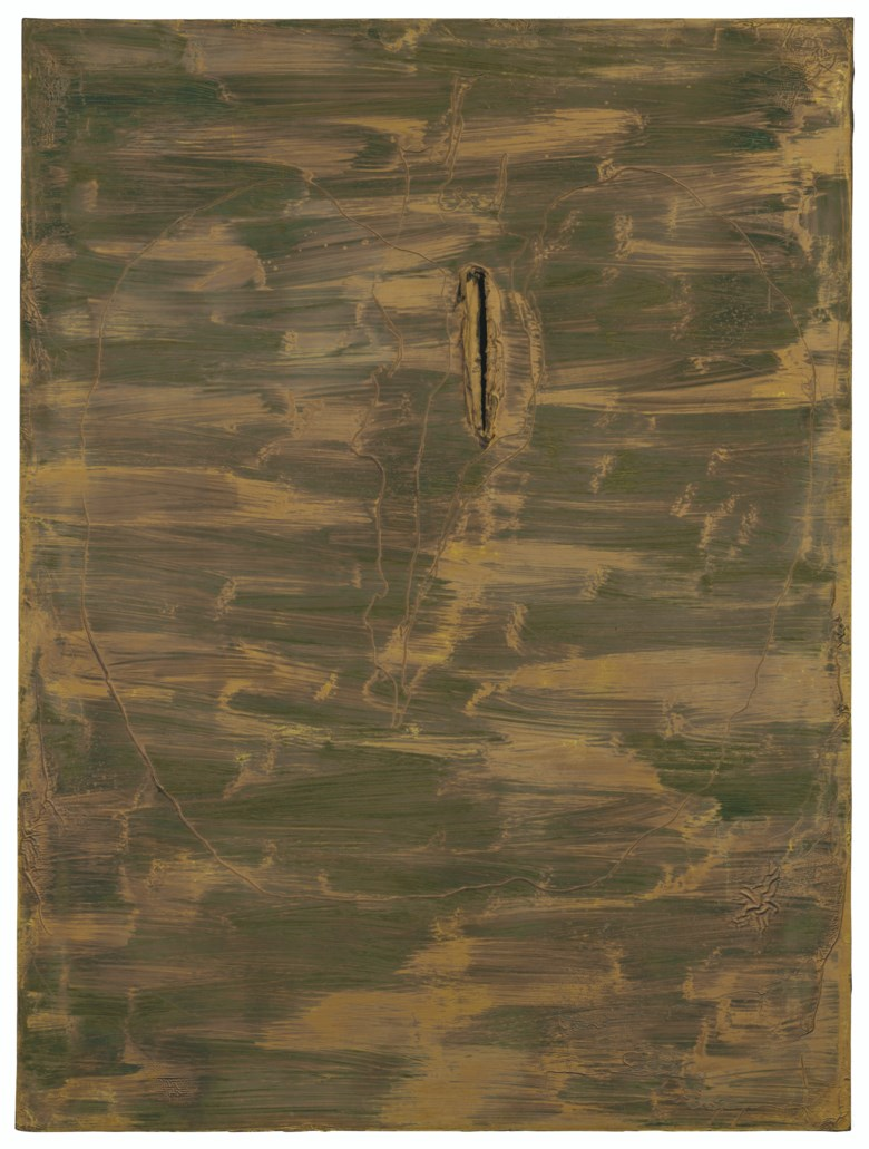 Lucio Fontana (1899-1968), Concetto spaziale, 1962. Oil and graffiti on canvas. 51⅛ x 38¼ in (130 x 97 cm). Estimate £800,000-1,200,000. Offered in Thinking Italian Art and Design Evening Sale on 22 October 2020 at Christie's in London
