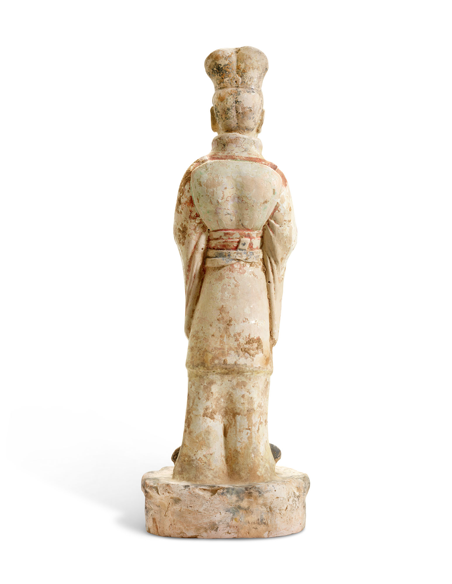 A PAINTED POTTERY FIGURE OF A CIVIL OFFICIAL