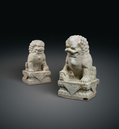 A MONUMENTAL PAIR OF MARBLE BU