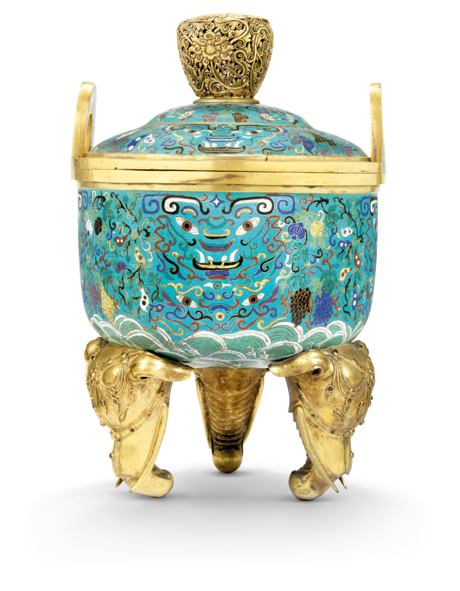 A RARE LARGE CLOISONNE ENAMEL CIRCULAR TRIPOD CENSER AND COVER