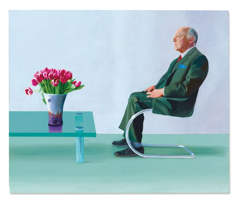 David Hockney (b. 1937), Portrait of Sir David Webster, 1971. Acrylic on canvas. 60⅛ x 72⅝ in (152.8 x 184.5 cm). Sold for £12,865,000 on 22 October 2020 at Christie's in London. Artwork © David Hockney